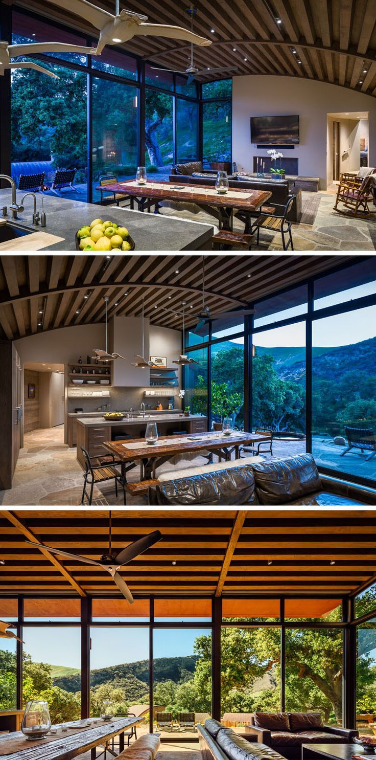 Inside This Rustic Modern House Douglas Fir Beam Ceilings Draw Your Eye To The Curved Ceiling Luxury House Interior Design Modern House Modern Sliding Doors