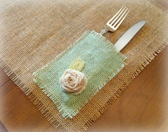 Set of 6 Burlap Placemats Free Shipping Hand by TheBirchTreeShop, $46.00