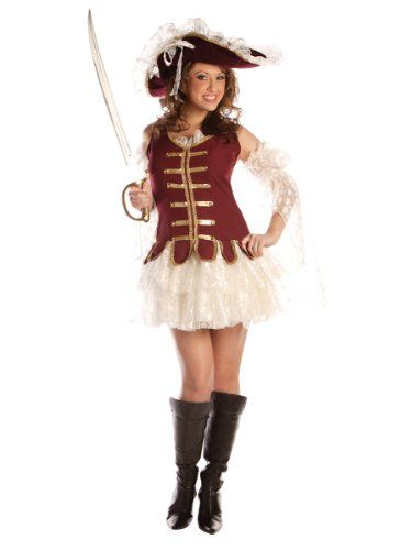 Sexy Victorian Lace Pirate Costume Mini Dress With Matching Pirate Hat 3 PC Sizes: Small Choose From Small (6-8), Medium (10-12), Large (14-16) Or X-Large (18-20). Sexy Victorian Lace Pirate Costume. theater Production Costume. Includes tank top mini dress with attached petticoat, lace sleeves and velvet hat. Sword and boots. Women's Sizing.  #Unknown #Apparel