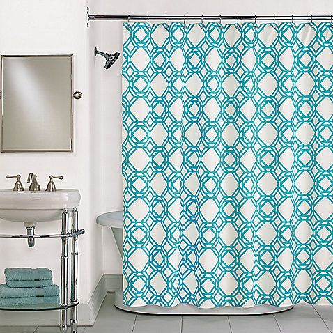 Buy Trinity Blue Shower Curtain In Blue From At Bed Bath Beyond Refresh Your Bathroom With The Oversized Link Motif On This Shower Curtain