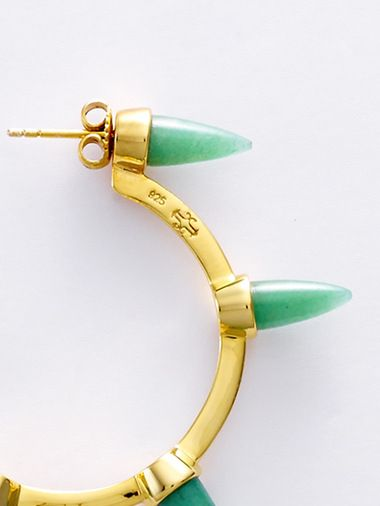 Bulan Earrings (Gold, Green Aventurine) | Joanique | Shop | NOT JUST A LABEL
