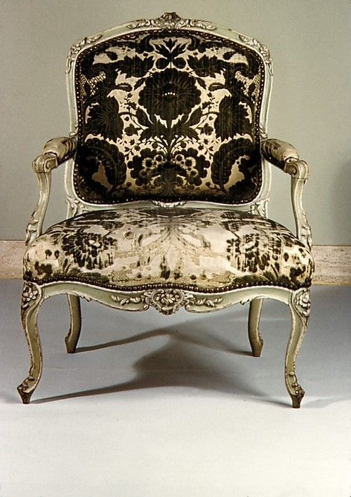 Armchair, Michel Gourdin, c.1760, Paris, carved and painted beechwood and voided velvet upholstery, Metropolitan Museum of Art