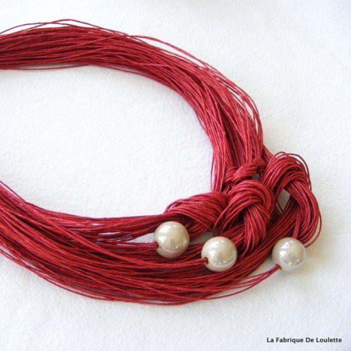 Collier lin rouge marsala et céramique