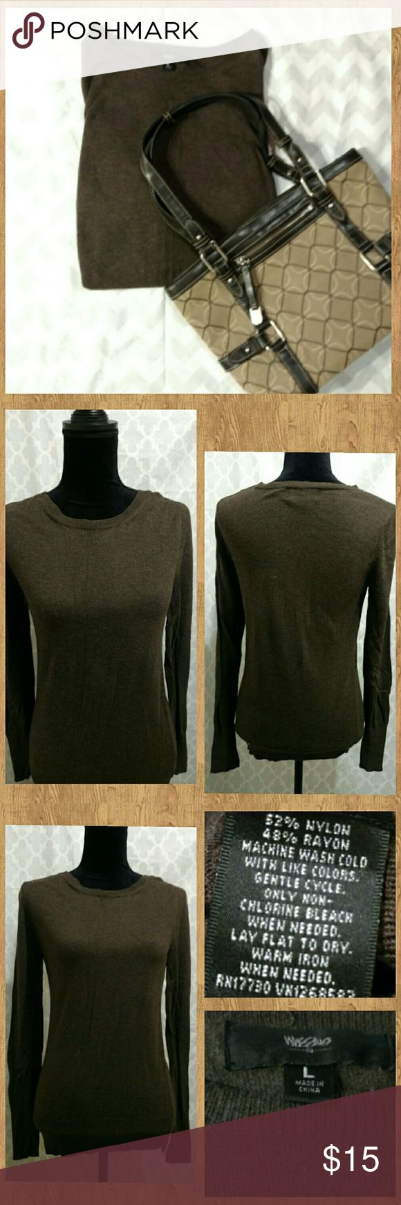 Mossimo Brown Long Sleeve Brown long sleeve top. Soft, cashmere-LIKE material (nylon/rayon blend). Very good, pre-owned condition. Only worn 1-3 times.   Discount available with bundle purchase. Mossimo Supply Co Tops