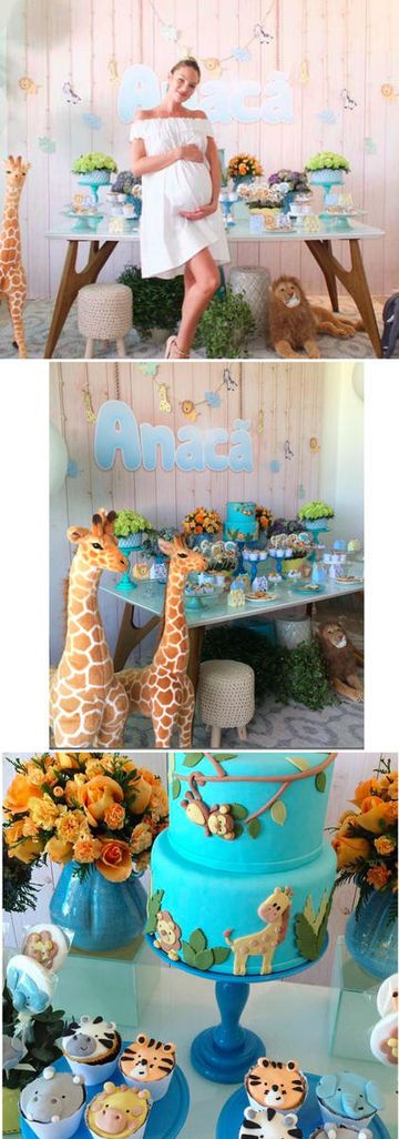 "Things got ""wild"" at the recent safari-themed baby shower for Victoria's Secret model and mom-to-be Candice Swanepoel. The gorgeous first-time mama wore a flowy white dress that perfectly offset the colorful decor. Stuffed lions, elephants, and giraffes adorned the room, and a table was set with flowers in purples, peaches, and greens, as well as animal face cupcakes, and a bright blue cake. Swanepoel reportedly also revealed her baby boy's name on a decorative blue banner reading, ""Anacã.""…"