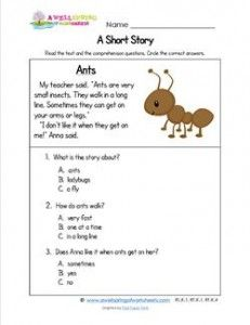 Kindergarten Short Stories - Ants | Reading Comprehension