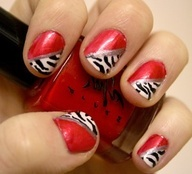 red zebra nail design maybe on one nail instead of all #homecoming