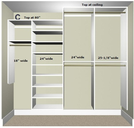 High low hanging shelfs small long hanging master for Small walk in closet design layout