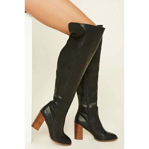 Forever21 Faux Leather Knee-High Boots (86 BRL) ❤ liked on Polyvore featuring shoes, boots, over-the-knee boots, faux leather knee high boots, knee high platform boots, high heel platform boots, thigh high heel boots and over the knee thigh high boots