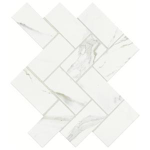 MARAZZI Developed by Nature Calacatta 12 in. x 14 in. x 6 mm Glazed Ceramic Herringbone Mosaic Tile DN1124HERRHD1P2 at The Home Depot - Mobile