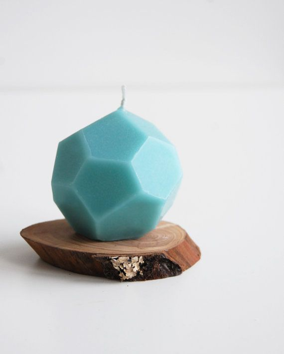 Holiday Candle  Faceted Handmade Candle  Geometric by LessCandles