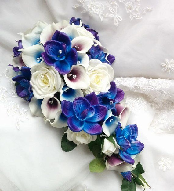 Wedding Natural Touch Blue Purple Dendrobium Orchids Blue Picasso