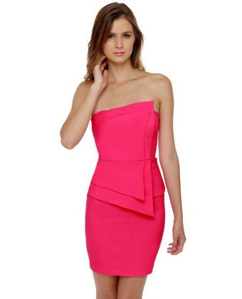 Polite to Point Strapless Fuchsia Pink Dress-----love the shape this creates