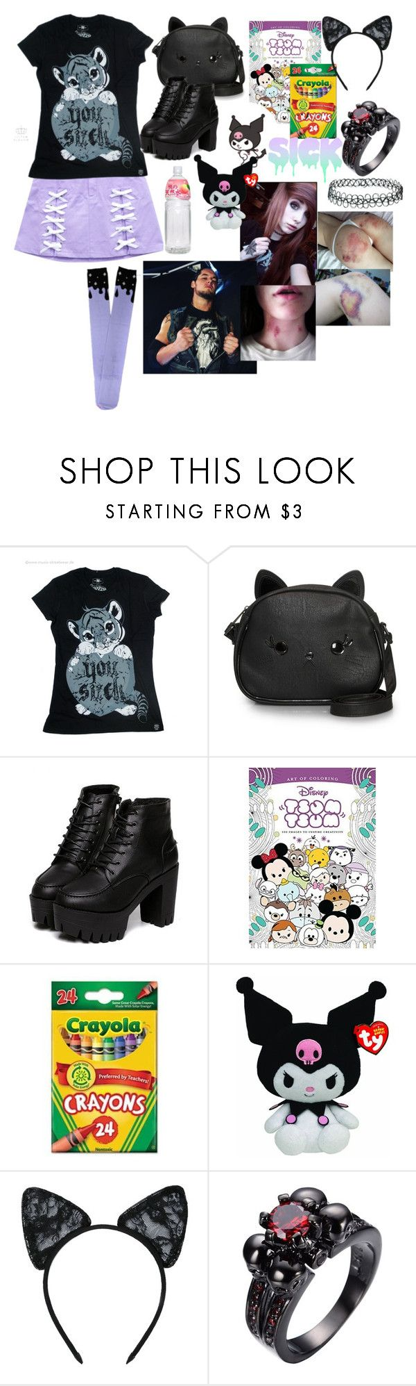 """traveling with daddy"" by monsterhex ❤ liked on Polyvore featuring Loungefly, Disney, Hello Kitty, Maison Close and Topshop"
