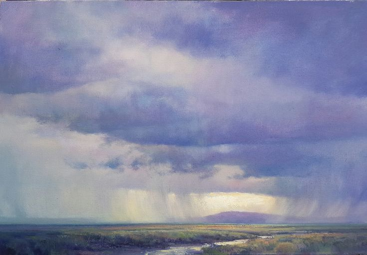 Passing showers, Karoo. Oil on Canvas. 51x76cm.