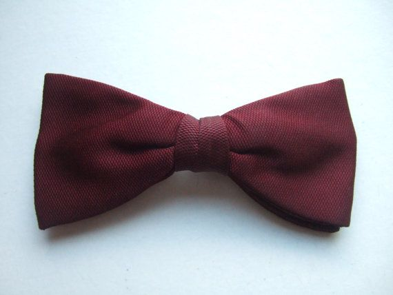 Self tie bow tie - Woven Jacquard silk in solid burgundy red Notch 4yQhW