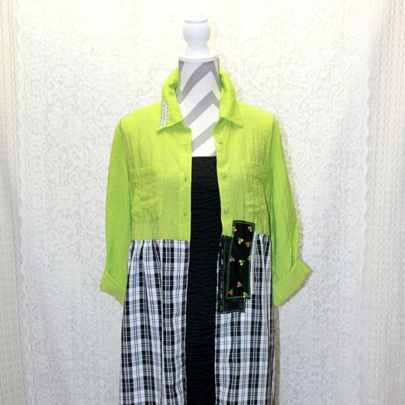 $65 Upcycled Boho / Gypsy Overcoat - Wearable Art - Eclectic Jacket - Long Duster Cardigan - Size Medium / Large - Chartreuse, Black, & White  Perfect for fall & winter! Lightweight & unique - this long duster jacket is designed to wrap you comfortably and stylishly. The top comes in a bright chartreuse green and the bottom is a black and white plaid. Both materials are a lightweight rayon.