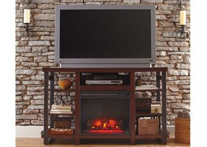 Challiman Large TV Stand w/ LED Fireplace Insert