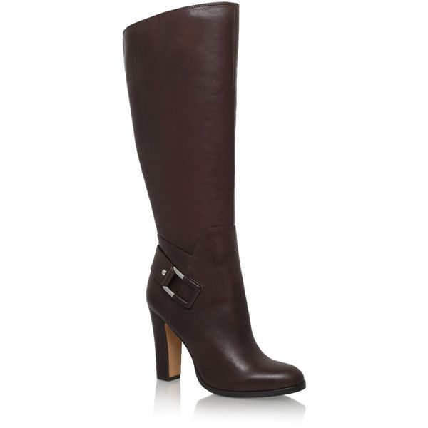 Cheree Vince Camuto Brown (5.535 RUB) ❤ liked on Polyvore featuring shoes, boots, brown, leather high heel boots, tall boots, brown knee boots, faux-leather boots and brown knee high boots