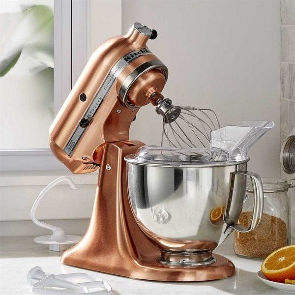 Crate & Barrel KitchenAid ® Copper Metallic Series Stand Mixer (790 CAD) ❤ liked on Polyvore featuring home, kitchen & dining, small appliances, kitchenaid heavy duty stand mixer, kitchenaid small appliances, kitchen aid small appliances, kitchen aid standing mixer and spiral mixer