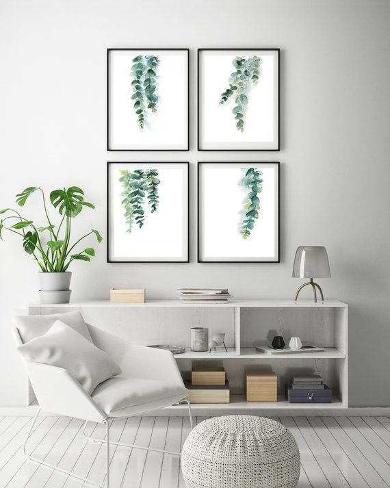 Eucalyptus Prints Set Minimalist Green Leaves Of 4 Fine Art Watercolor Painting Eu