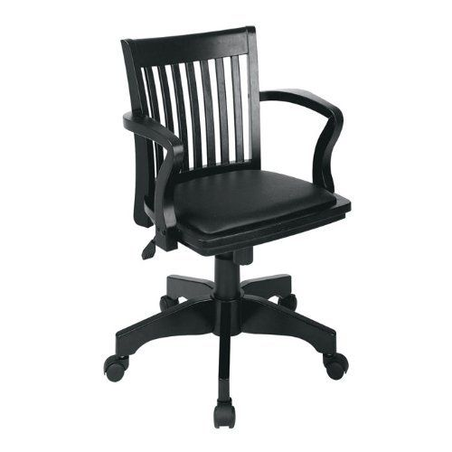 wood bankers desk chair with vinyl seat by office star wood