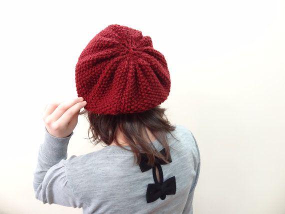 Burgundy Hat BeanieKnit Beanie Hand Knitted Beanie by SwomanStore