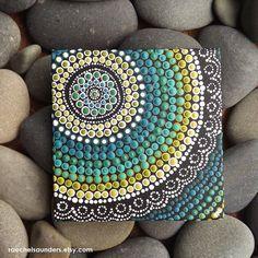 Aboriginal Art Dot peinture, petite acrylique peinture sur toile Conseil, vert décor, Art côtières, 10 cm x 10 cm