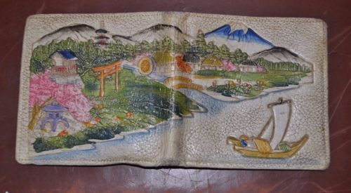 Antique/Vintage Japanese Embossed Painted Leather Wallet- Japanese Village VGC