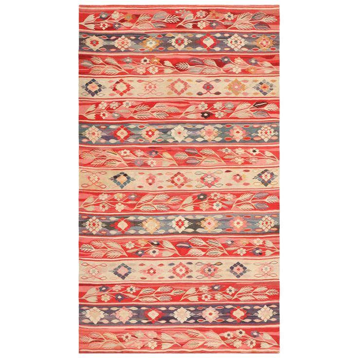 Antique Romanian Bessarabian Flat Weave Rug