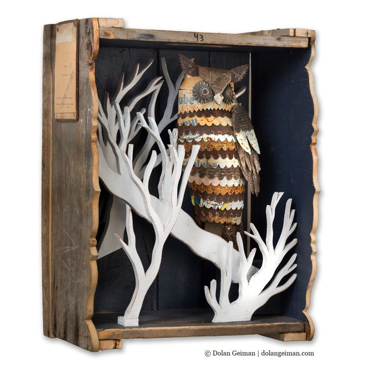 Maybe Midnight Faux Taxidermy Owl In Tree Diorama
