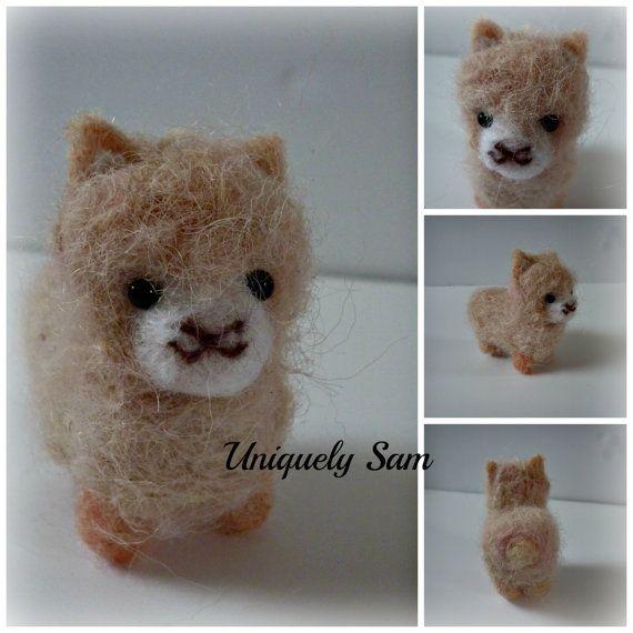 pink alpaca baby alpaca felted baby alpaca kawaii by UniquelySam