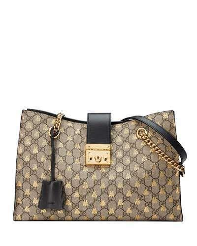 f0e3f2a3013 Gucci Padlock GG Supreme Canvas Bees Medium Shoulder Tote Bag in ...