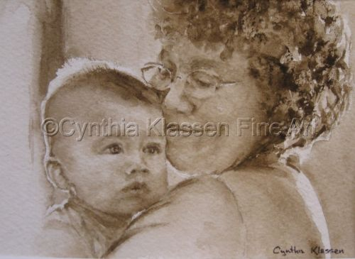 Portrait commission Sylvan and Grandma painted in sepia watercolor. Order watercolor commissions through my website, CynthiaKlassen.com.