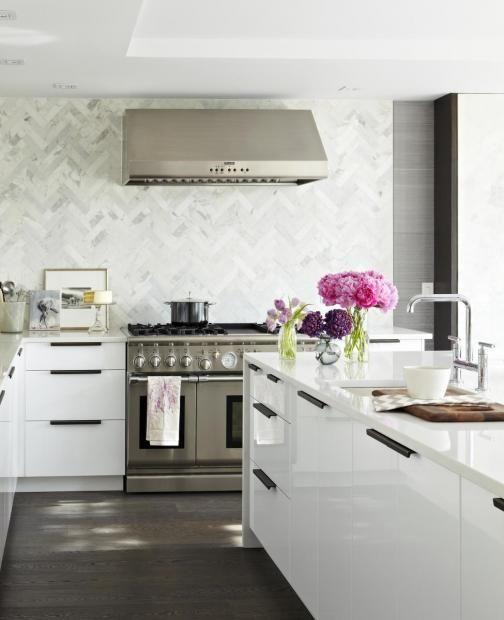Modern White Kitchen | CultivateIdeas, Back Splashes, Herringbone Tile, Marbles, Kitchens Backsplash, Modern Kitchens, White Cabinets, Design, Modern White Kitchens