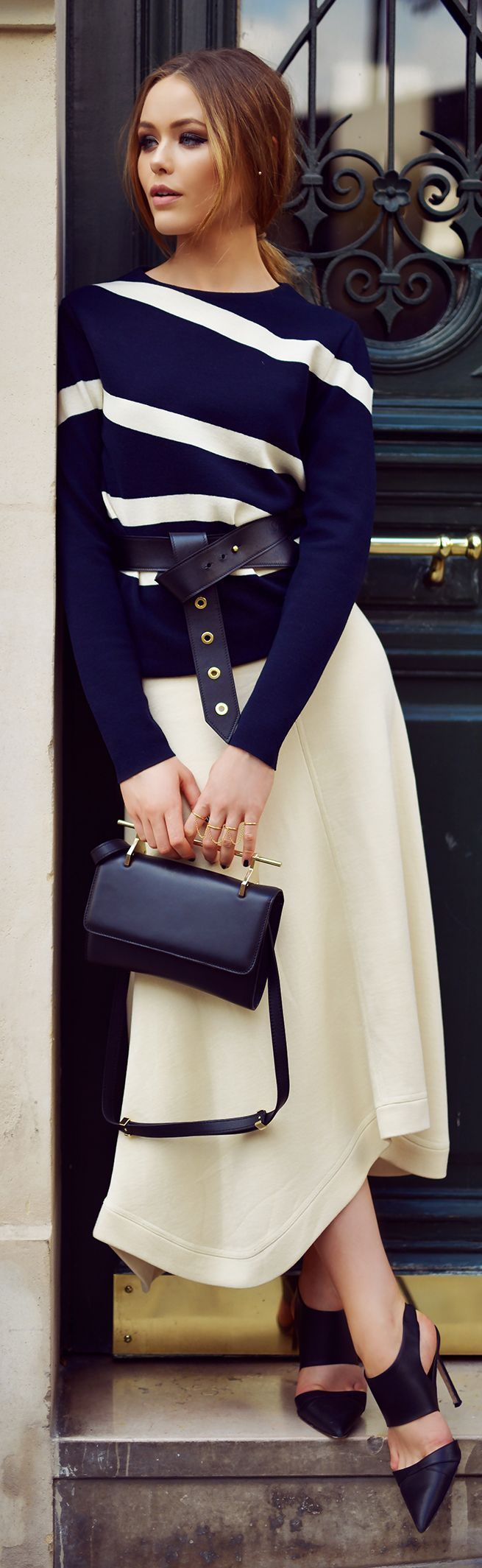 Navy Stripes With Belted