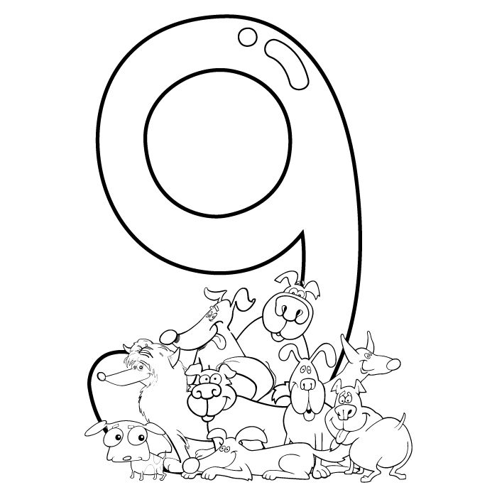 Free Coloring Page For Kids Number 9 Coloringsheets Prek