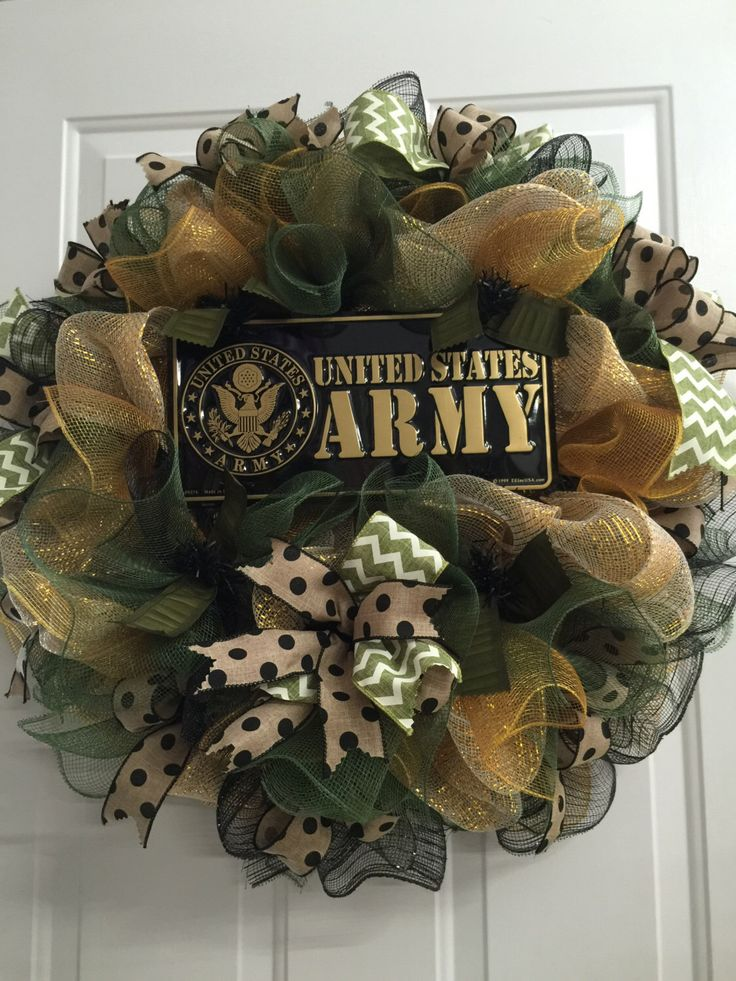 A personal favorite from my Etsy shop https://www.etsy.com/listing/399456327/army-deco-mesh-wreath-military-usa
