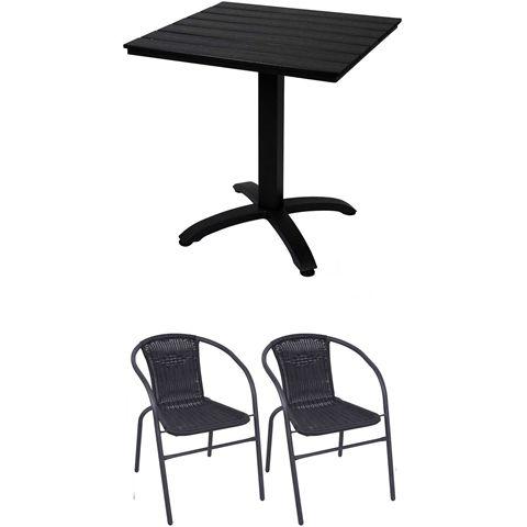 Caféset, Café bord i aintwood/aluminium + 2 stolar i konstrotting/stål, svart, 3002510-3002610-2