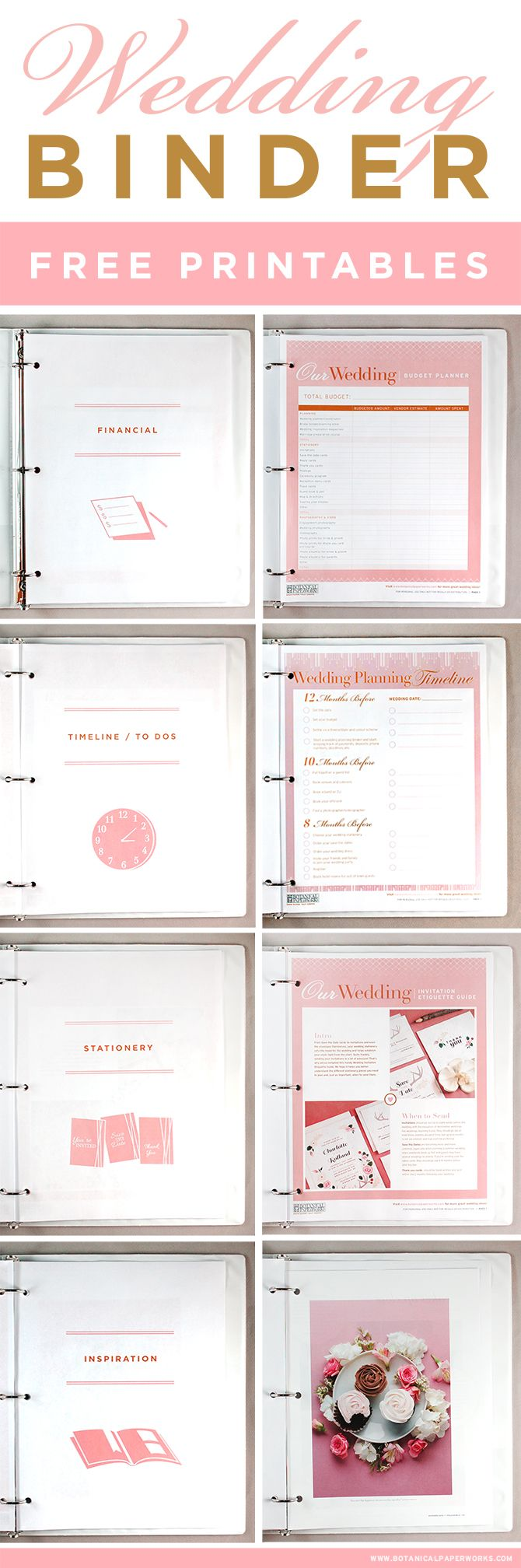 Get access to these FREE printables to help you create the wedding planning binder of your dreams! #freeprintables #freeprintable