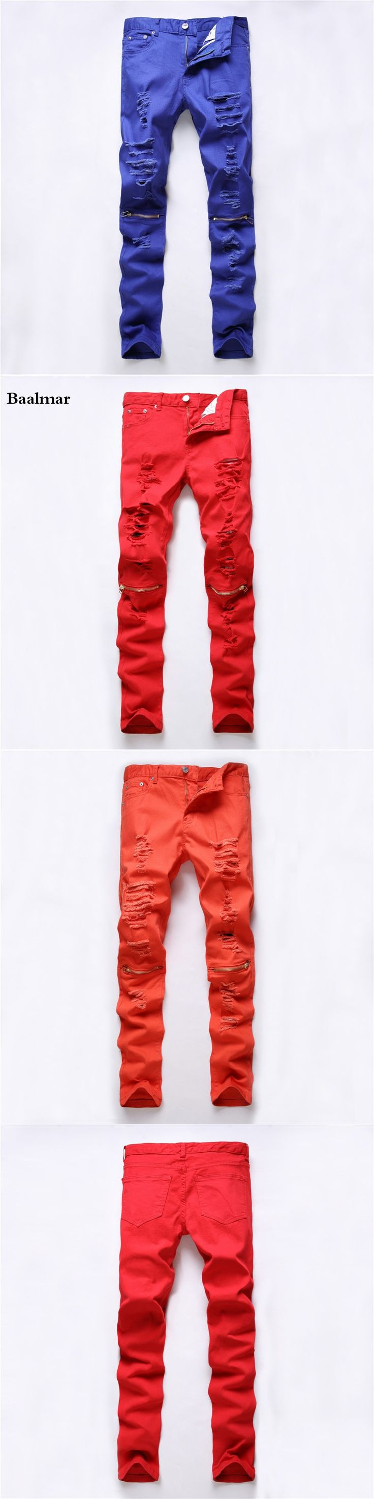 2017 New Red Ripped Jeans Men With Holes Super Skinny Famous Designer Brand Slim Fit Destroyed Torn Jean Pants For Male Homme