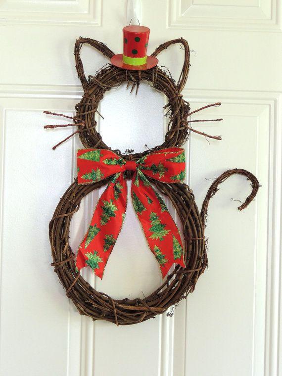 Cappello superiore gatto Natale Corona Natale Grapevine gatto ghirlanda Natale porta gancio parete decorazione porta ghirlande