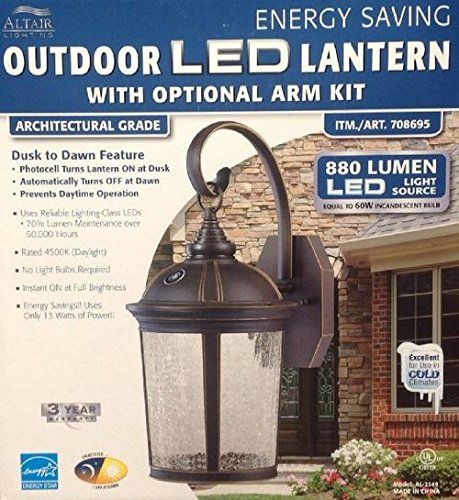 Altair Lighting LED Outdoor Lantern With Optional Arm Kit