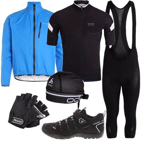 Outfit per gli amanti della mountain bike, e dato l'arrivo della festa del papà, idea regalo. Una tuta nera, una t-shirt in poliestere stampata, una giacca blu cielo e un paio di scarpe in fintapelle e tessuto. Per completare il look da vero appassionato di mountain bike un paio di guanti a mezze dita e un foulard.