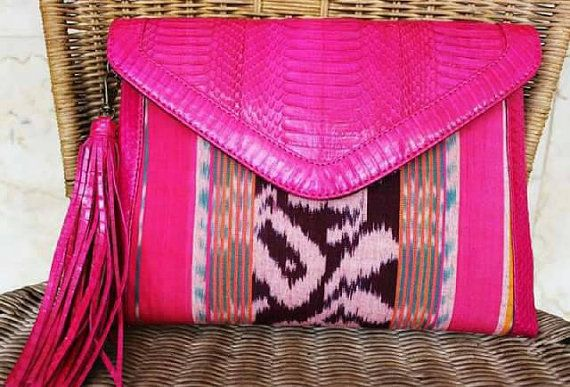Check out this item in my Etsy shop https://www.etsy.com/listing/261815981/clutch-snakeskin-and-ikat-woven