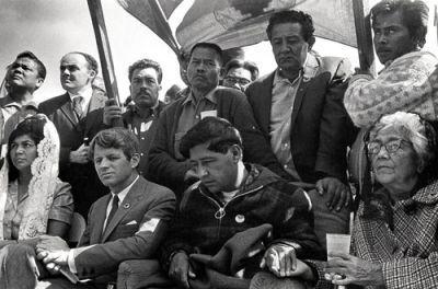 twenty-five day fast: helen chavez, robert f. kennedy, cesar chavez, pete cardenas, larry itliong, andy imutan, julio hernandez 1965
