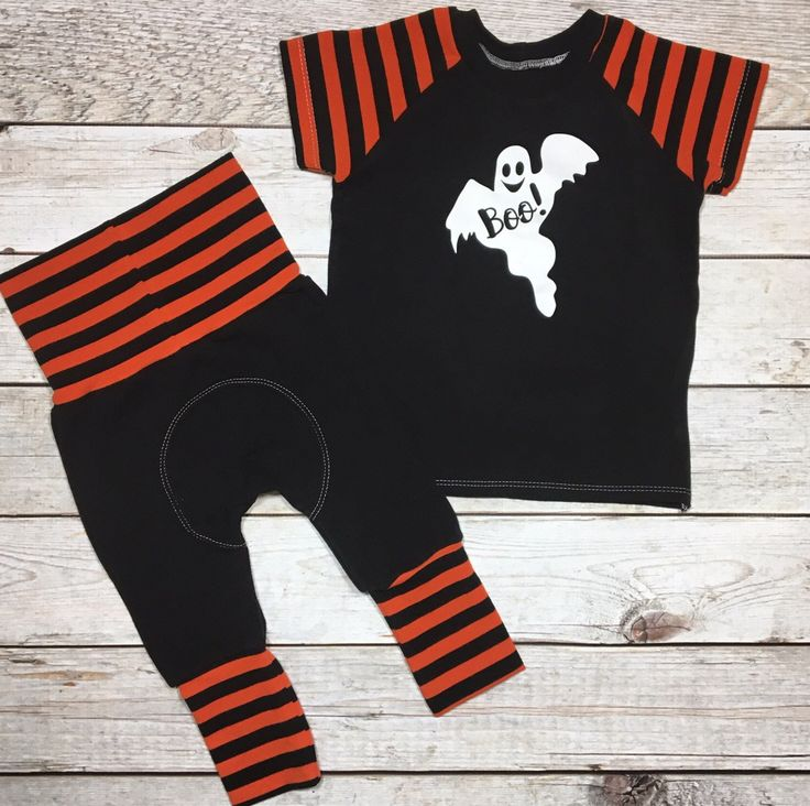 Gender nuetral halloween outfit, black and orange stripe, ghost halloween vinyl, boys halloween outfit, girls outfit set, grow with me pants by MockingBrdBoutique on Etsy