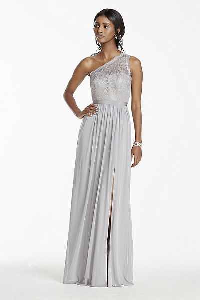 MORE COLORS NEW! - Long One Shoulder Metallic Lace and Mesh Dress Style F17063M In Store & Online $179.95  davidsbridal.com