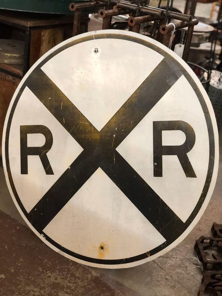 "Railroad Sign On Sale 36"" Diameter Was $195 Sale Price"