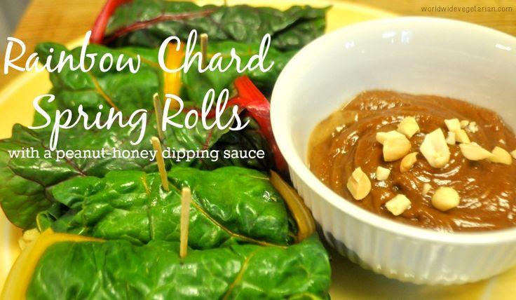 Rainbow Chard Spring Rolls / http://www.worldwidevegetarian.com